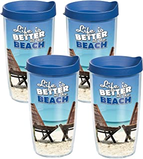 Tervis 1141814 Life is Better on the Beach Tumbler with Wrap and Blue Lid 4 Pack 16oz, Clear