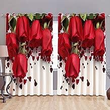 HOMECRUST Fabric 4 x 5 ft 3D Curtain Roses-Multi-coloured-2 Pieces