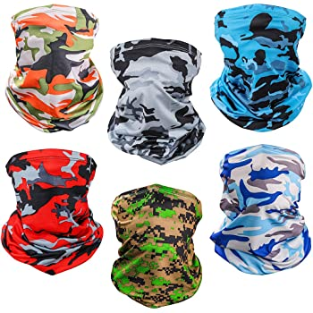 6 Piece Balaclava Face Mask Bandana,Sun UV Protection Neck Gaiter Mask,Magic Scarf Neck Gaiter,Windproof Scarf Sunscreen Breathable for Sport&Outdoor (Camouflage)