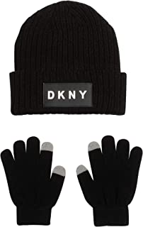 DKNY Boys Winter Beanie Hat and Gloves Set
