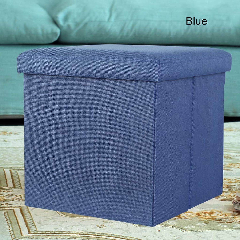 Storage Stool Multi-Function Folding Toy Storage Stool Home Storage Box Change shoes Bench,bluee,Large