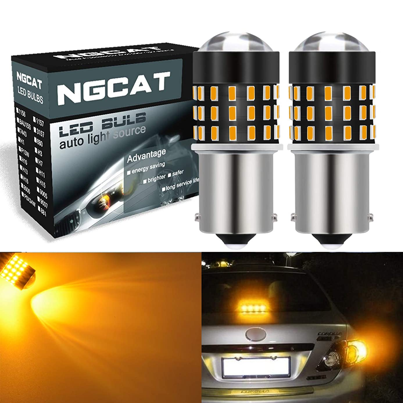 NATGIC 1156 BA15S 1095 7506 LED Bulbs Extremely Bright 3014SMD 54-EX Chipsets with Lens Projector for Turn Signal Lights, Tail Backup Reverse Lights,Amber 12-24V(2-Pack)
