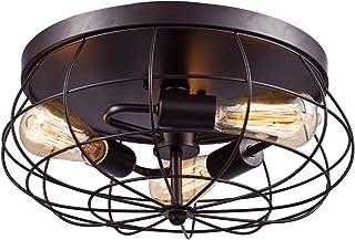 YOBO Lighting Oil Rubbed Bronze Flush Mount Ceiling Light, 3-Light