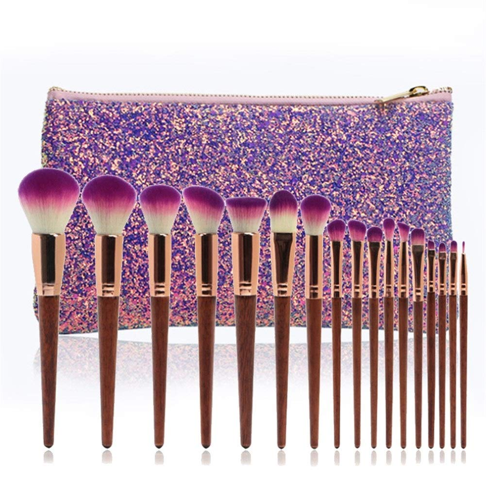 17 Some reservation Max 75% OFF wood color makeup brushes high-grad sequins mahogany Selected