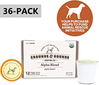 Grounds & Hounds Single Serve Organic Coffee Pods - Compatible with Keurig K Cup Machines - 100% Arabica Small Batch Roasted (Alpha, 36)