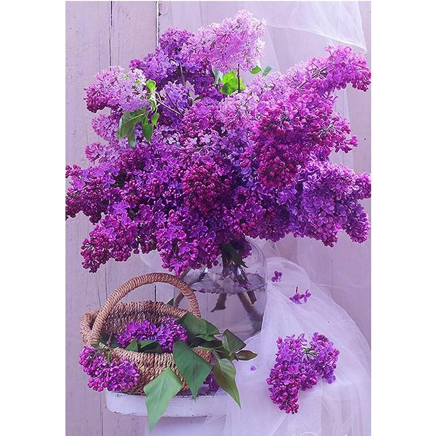 アンソロジーシェフ通常Manyao 紫色の花diy 5dフルドリルダイヤモンド絵画刺繍クロスステッチキットラインストーンモザイク家の装飾クラフト