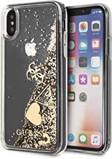 CG Mobile Guess Phone Case for iPhone X and iPhone Xs Hard Case PC/TPU Liquid Glitter with Charm Gold   Easy Snap-On   Dro...