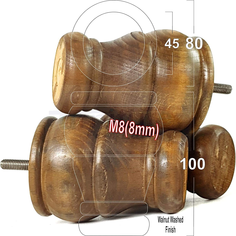 Lot de 4 pieds en bois de rechange pour meubles de canapé, chaises, tabourets M8 (8 mm) Blanc délavé Noyer Foncé Délavé.