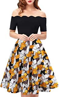656333e3c0ae Womens Off The Shoulder Vintage Floral Patchwork A-Line Swing Midi Dresses  Casual Tea Party
