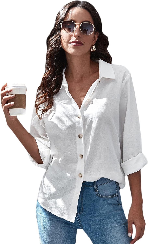 Floerns Women's Solid Button Down Collar Long Sleeve Blouse Shirt Tops