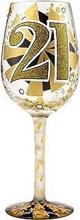 Enesco 6000735 Designs by Lolita Hand-painted Artisan, 15 oz. 21st Birthday Wine Glass, Multicolor