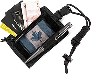 OneTigris UNIQ ID Badge Holder Breakaway Lanyard with Zippered Pocket for Cards Changes (Black)