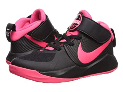 Nike Kids Team Hustle D 9 (Little Kid) (Black/Racer Pink/White) Girls Shoes