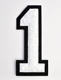 Varsity Number Patches - White Embroidered Chenille Letterman Patch - 4 1/2 inch Iron-On Numbers (White, Number 1 Patch)