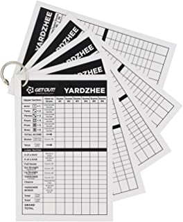 Get Out! Giant Yard Dice Laminated Score Keeper Cards Small 5pk – Jumbo Outdoor Lawn Game Dice Point Pads Game Sheets