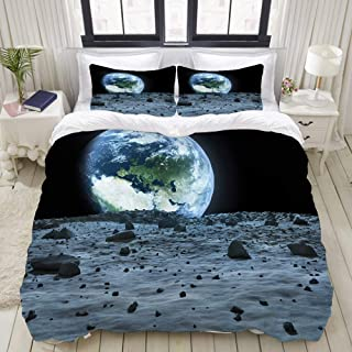 LONSANT Blue Space Earth Seen from The Moon of This Furnished by NASA Outer View Landing Studio Single Apartment Decorate Decorative Custom Design 3 PC Duvet Cover Set Queen/Full