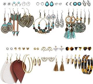 36 Pairs Bohemian Tassel Earrings Set Vintage National Style Leather Heart Shape Earrings Acrylic Stud Hoop Drop Dangle Earrings for Women Girls Valentine's Day Birthday Gifts