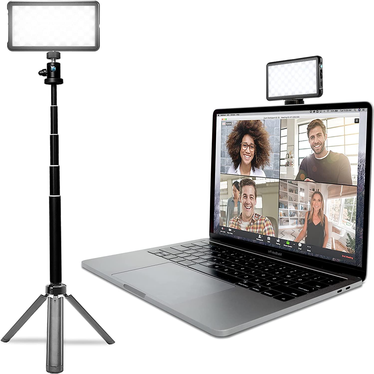 Lume Cube Broadcast Lighting Kit   Live Streaming, Video Conferencing, Remote Working, Zoom Webcam   Lighting Accessory for Laptop, Adjustable Brightness and Color Temperature, Computer Mount Included