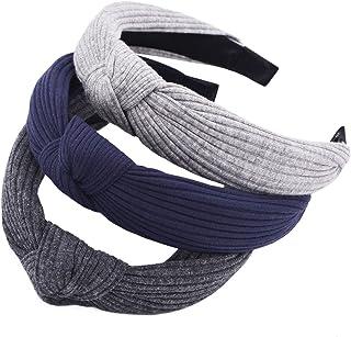STHUAHE Pack of 3 Women Wide Stripes Cloth Cross Knot Hair Hoop Hairband Headband Hair Accessories (Gray Blue Darkgray)