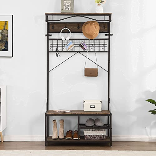 lowest O&K FURNITURE 73-Inch outlet online sale Industrial Hall Tree with Hooks, Entryway Coat Rack Shoe Bench, 5 in online 1 Storage Organizer with Grid Shelf, Rustic Gray Finish outlet sale