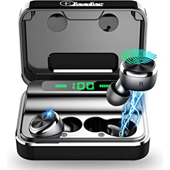 ELECDER D15 True Wireless Earbuds Bluetooth 5.0 Noise Canceling CVC8.0 Headphones in Ear, Support Apt-x, LED Battery Digital Display, Charging Case for Workout, Running (Black)