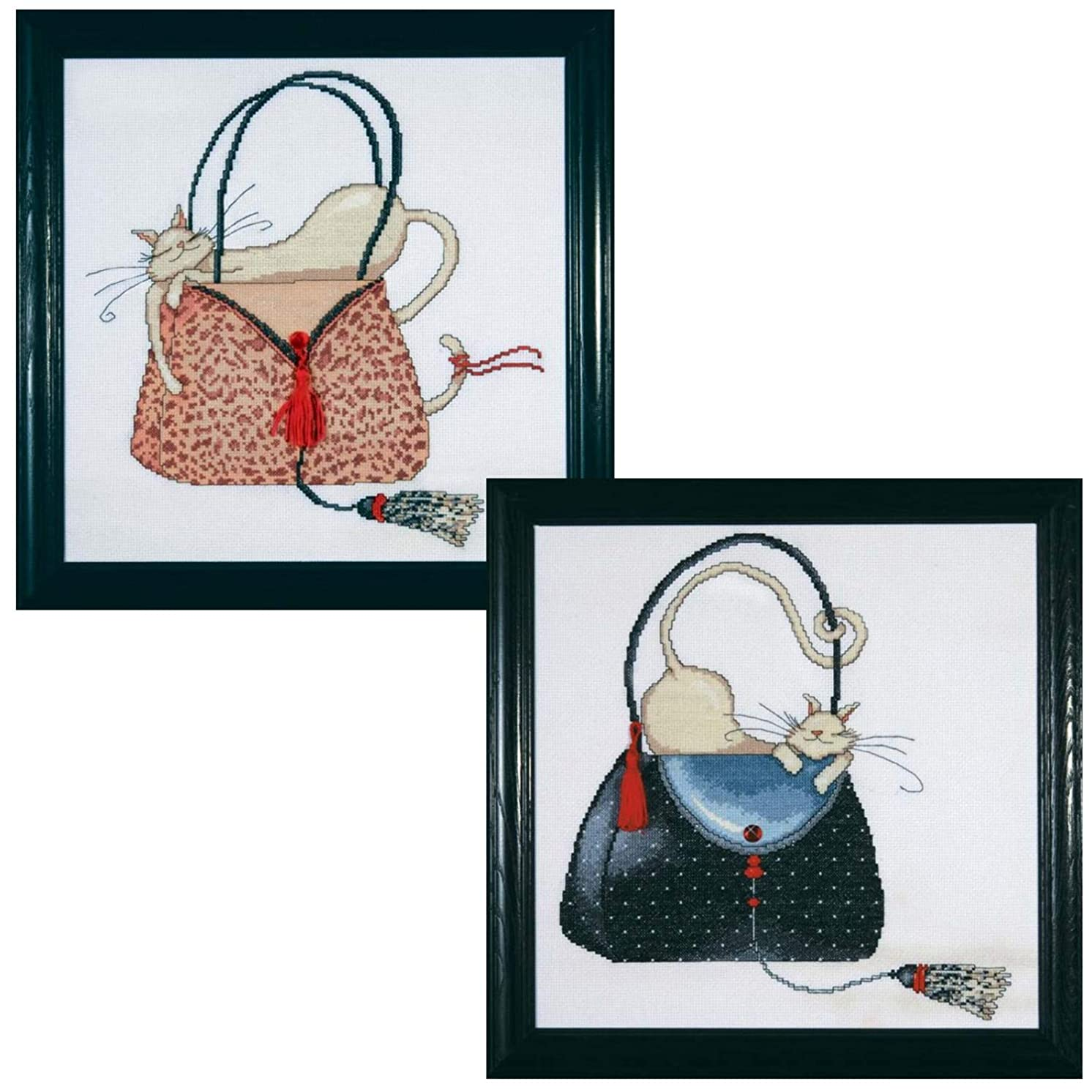 Design Works - Women's Décor Counted Cross Stitch Kits - Leopard Purse, Polka Dot Purse with 2 Gift Cards