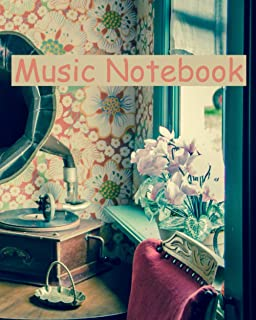 Music Notebook: 8 x 10 in (20.32 x 25.4 cm) 110 pages , MOREYES Blank Sheet Music Composition Manuscript Staff Notebook