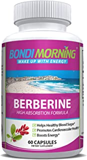 Berberine HCL Supplement, High Potency 1200mg Per Serving, for Blood Sugar & Cardiovascular Support, Powerful Vegan, Glute...