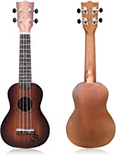 YOLOPLUS+ 21 Inch Wooden Ukulele Guitar Soprano Kid's Toy 4 Strings Musical Instruments Educational Learning with Picks Primary Tutorial Backpack for Toddler Beginner Keep Tone Anti-Impact