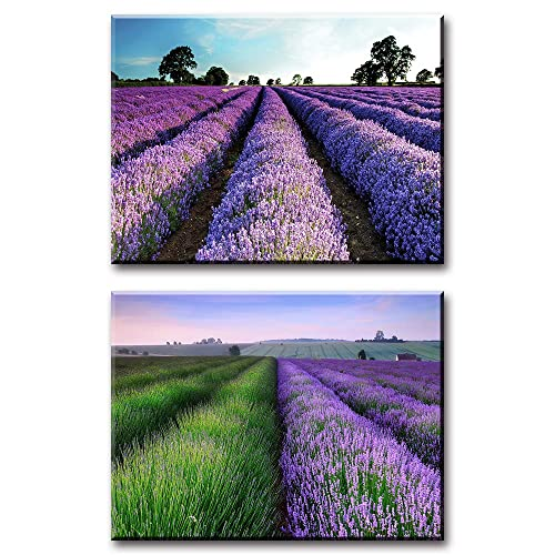 View Of Lavender And Sunflower Field Art Print Home Decor Wall Art Poster D