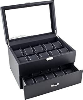Caddy Bay Collection Black Carbon Fiber Pattern Watch Box Display Storage Case with Glass Top, White Stitching Perforated Soft Pillows Holds 20 Watches - White Stitching