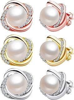 3 Pairs Freshwater Pearl Earrings for Women,Cubic Zirconia Stud Earrings for Women Piercing Earrings Studs Wedding Jewelry Earring Sets