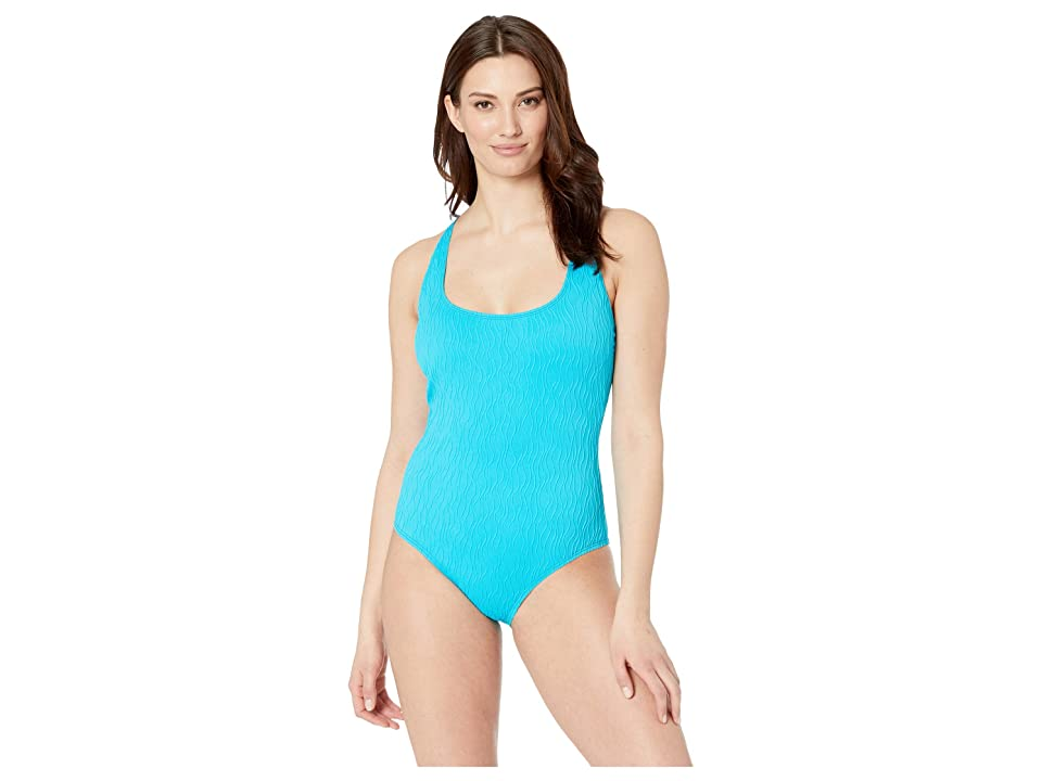 Athena Wave After Wave Cross-Back Tank One-Piece with Shelf Bra (Lagoon) Women