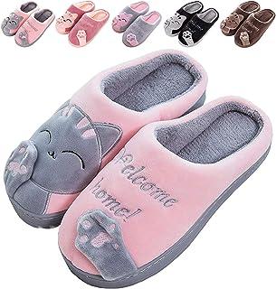 Zapatillas De Estar por Casa De Mujer Homber Invierno Dibujos Animados Gato Antideslizante CáLido Interior Dormitorio Slip...