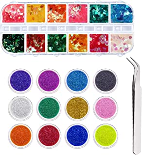 PHOGARY Chunky Glitter Set - 12 Colorful Iridescent Dot Mix Sequins, 12 Pots Utra Fine Glitter, Tweezers - Assorted Sparkles for Hair Face Eyes Sparkling Makeup Nail Art Decoration