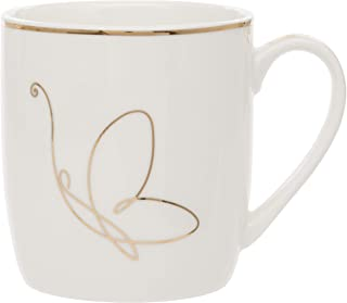 Maturi H807 - Taza (porcelana), diseño de mariposas, color dorado