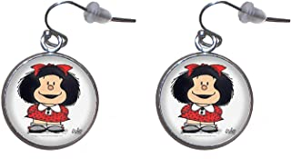 Boucles d'oreilles suspendues en acier inoxydable, diamètre 20 mm, fait à la main, illustration Mafalda 4