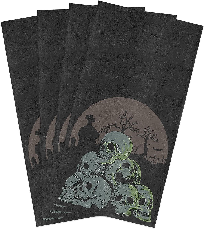 Halloween Kitchen Towels Set Tomb OFFer Skull Ni Dish Dark Towel Scary It is very popular