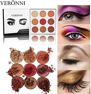 VERONNI Eye Makeup Marble Eyeshadow Palette 6 Glitter 6 Matte 12 colors High Pigment Shimmer Warm Eye Shadow Palette (#02 Burgundy)