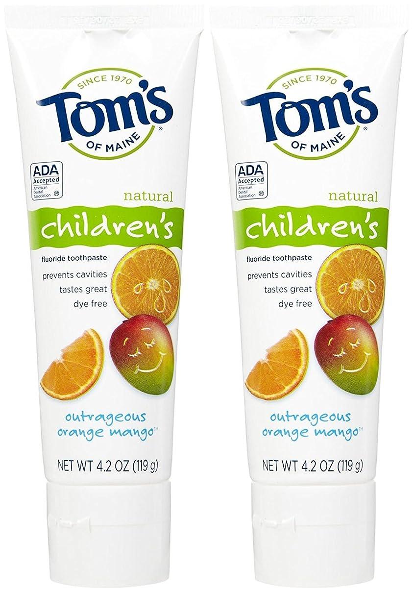 解放急行する義務付けられたTom's of Maine Anticavity Fluoride Children's Toothpaste, Outrageous Orange-Mango - 4.2 oz - 2 pk by Tom's of Maine
