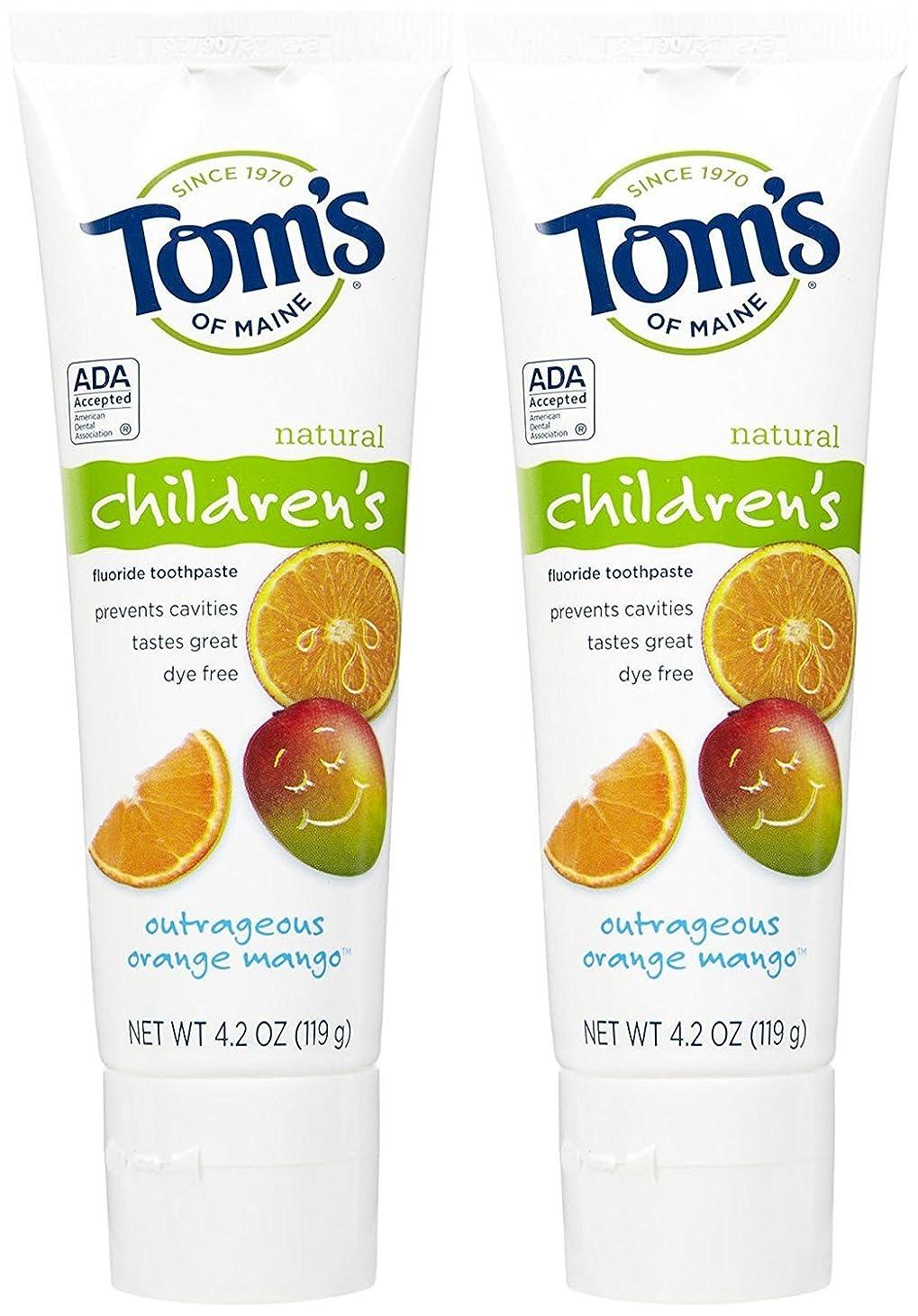 中にメナジェリーバズTom's of Maine Anticavity Fluoride Children's Toothpaste, Outrageous Orange-Mango - 4.2 oz - 2 pk by Tom's of Maine