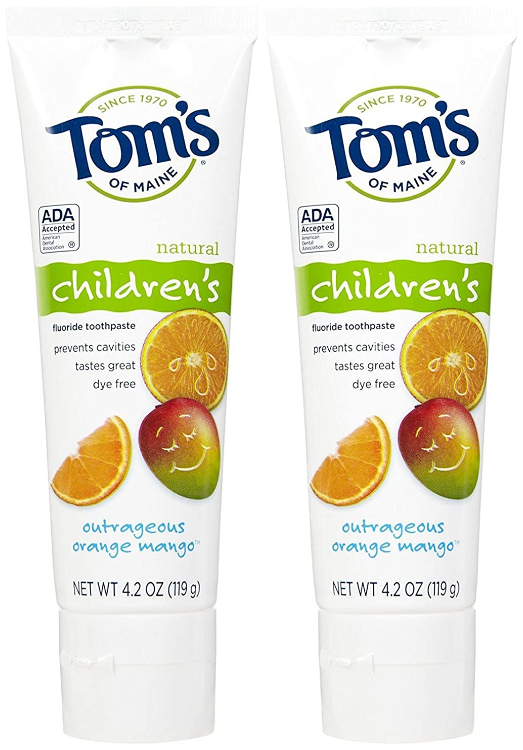 Tom's of Maine Anticavity Fluoride Children's Toothpaste, Outrageous Orange-Mango - 4.2 oz - 2 pk by Tom's of Maine