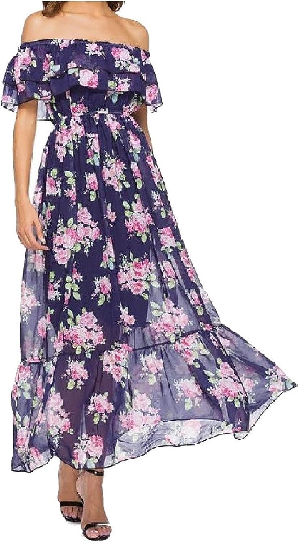 GodeyesWomen Godeyes Womens Stylish Flowy Beach Holiday Perspective Printing Floral OffShoulder Sun Dress