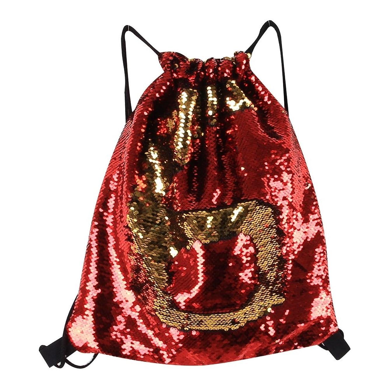 子音移民過ちYIJUPIN マーメイドスパンコールドローストリングバッグバックパック、ダンスバッグファッションダンスバッグビーチハイキングショルダーバッグ (色 : レッド)