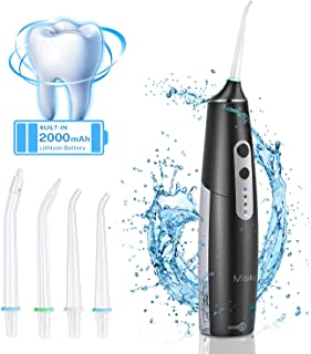Misiki Water Flosser Cordless, Dental Oral Irrigator for Teeth, IPX7 Waterproof Portable Oral Irrigator, Electric Water Flosser with Build-in 2000mAh Rechargeable Lithium Battery for Home and Travel