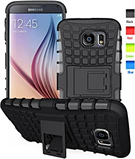 S6 case,Galaxy S6 Cases,S6 2 in 1 Plastic and TPU Hybrid Rubber Strong Hard Back Heavy Duty Shockproof Protective Armor Cover Case with Kickstand for Samsung Galaxy S 6 - Black