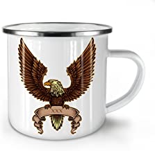 Eagle Wings Spread Enamel Mug, XXX Sign Cup - Strong, Easy-Grip Handle, Two Side Print, Ideal for Camping & Outdoors By Wellcoda