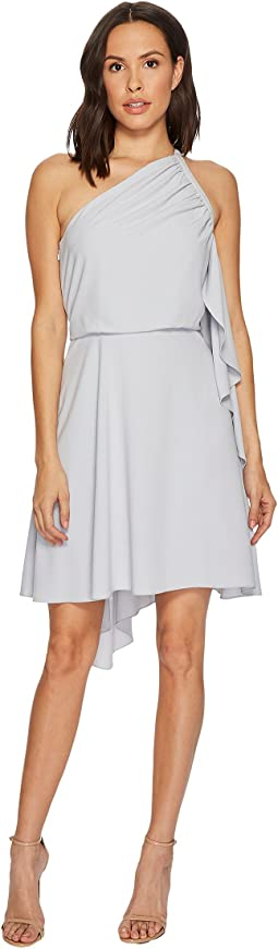 Halston Heritage - One Shoulder Dress w/ Smocking Detail