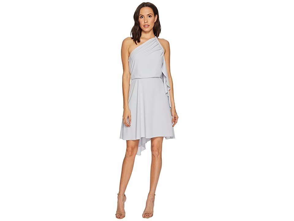 Halston Heritage One Shoulder Dress w/ Smocking Detail (Slate Grey) Women