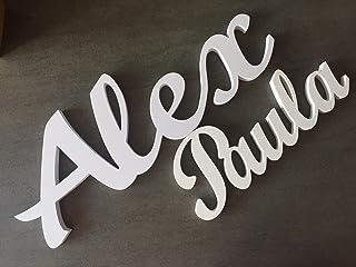 Nombre personalizado blanco para boda, evento, aniversario, comunión
